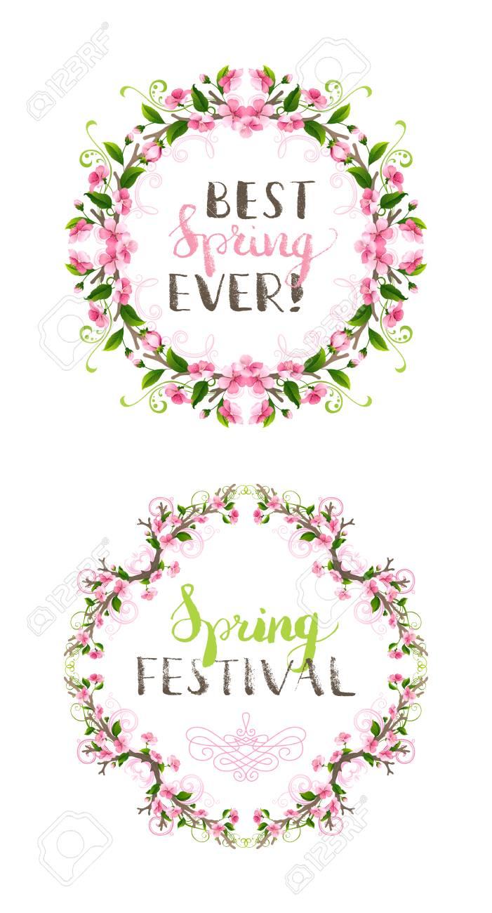 Artistic Design Of A Spring Frames Set Pink Cherry Blossoms