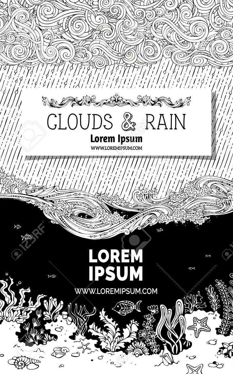 雲波と水中生活をいたずら書き空と海底の黒い部分に白い紙の上の本文