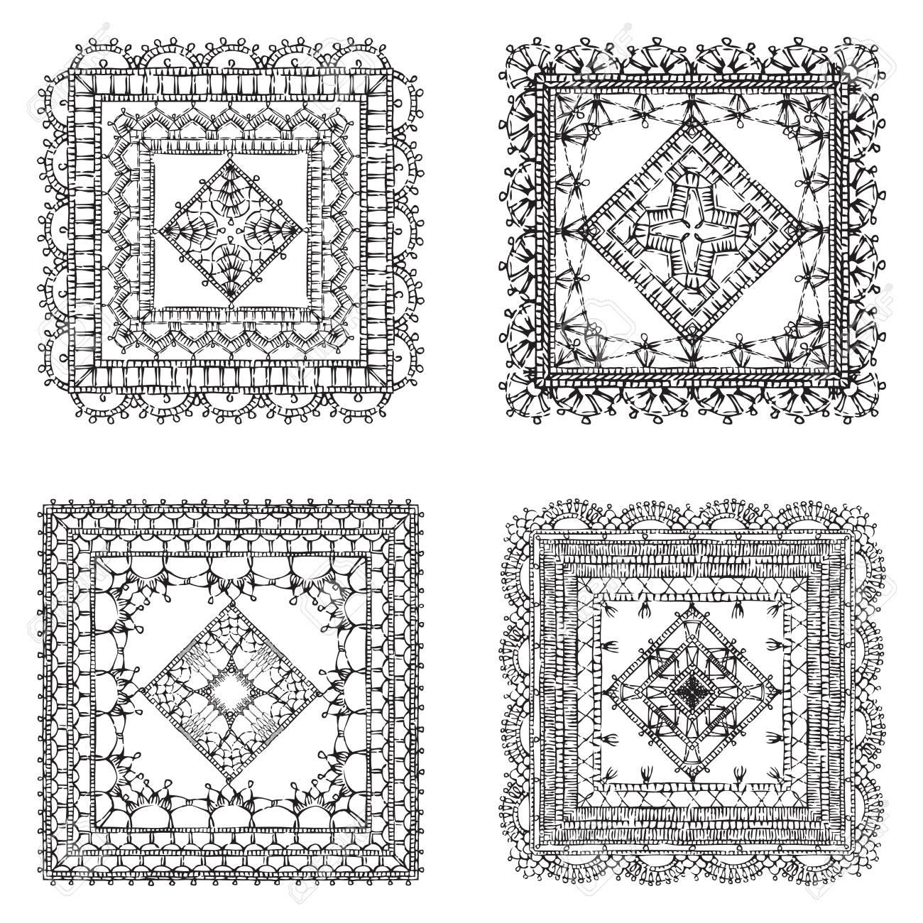 Vector Reihe Von Spitze Crochet Quadratischen Ornamente. Sketch ...