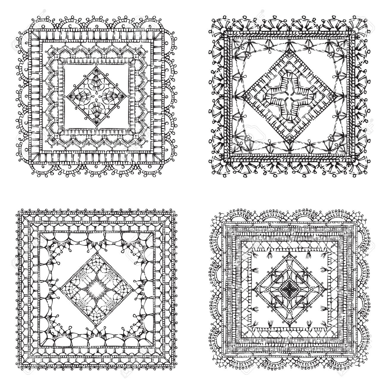 Vector Set Of Lace Crochet Square Ornaments. Sketch Filet Crochet ...