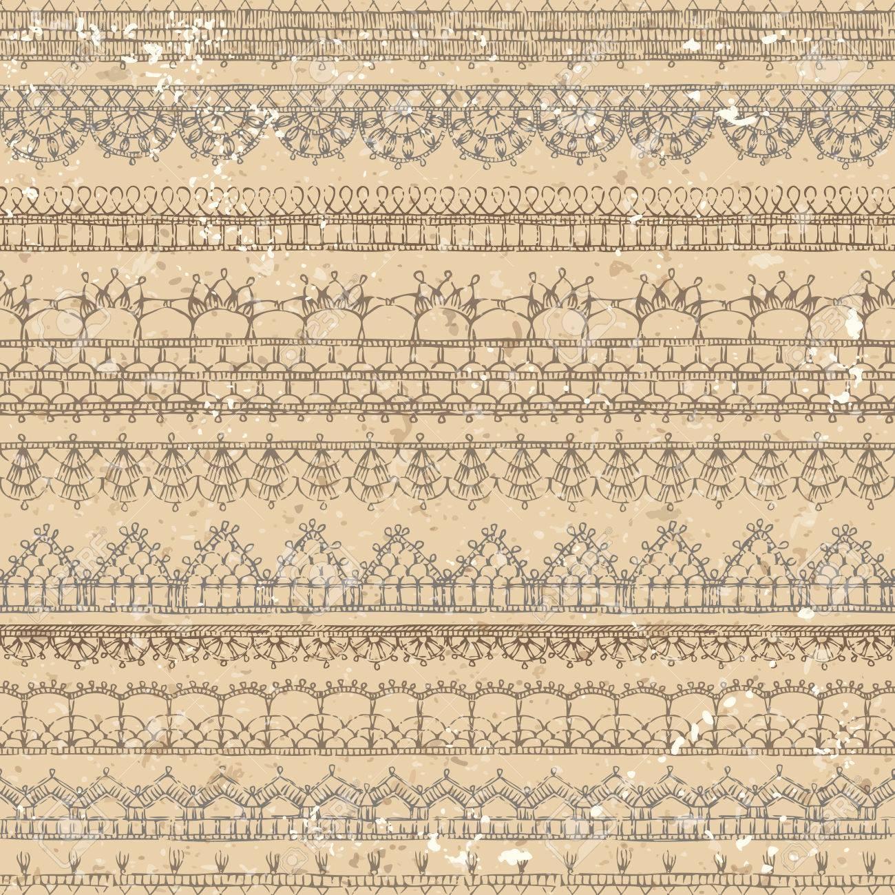 Vector Cosecha Crochet Patrón Transparente. Patrones De Bordes ...