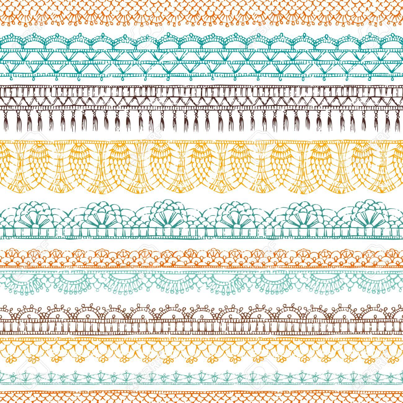 Vector Crochet Horizontal De Patrones Sin Fisuras. Patrón étnico ...