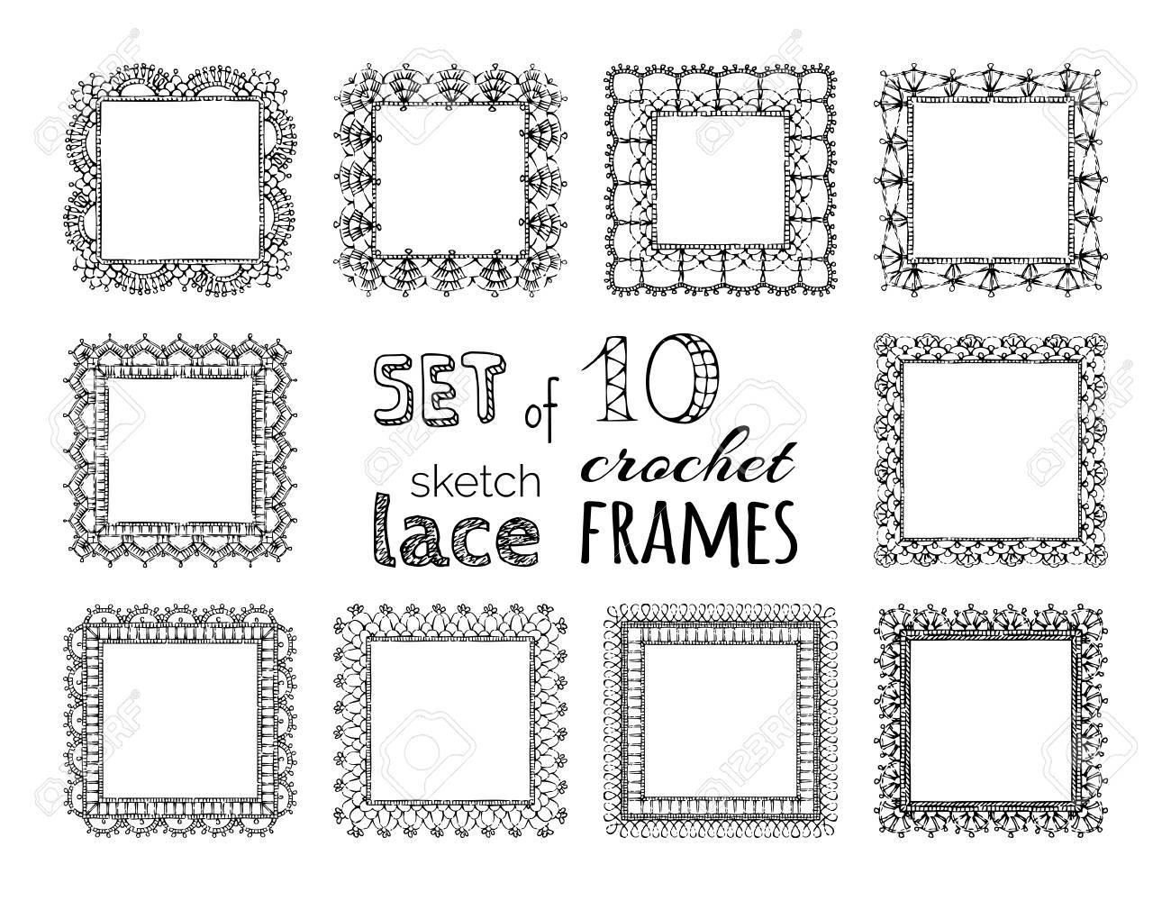 Vector Set Of 10 Sketch Lace Crochet Square Frames Ornate Crochet
