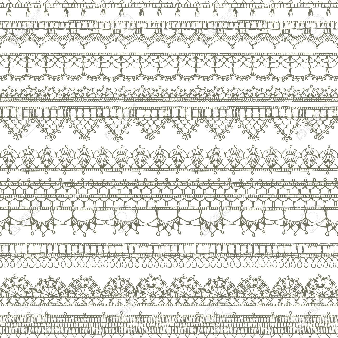 Vector Lacy Crochet Seamless Pattern. Sketch Knitted Edging Patterns ...