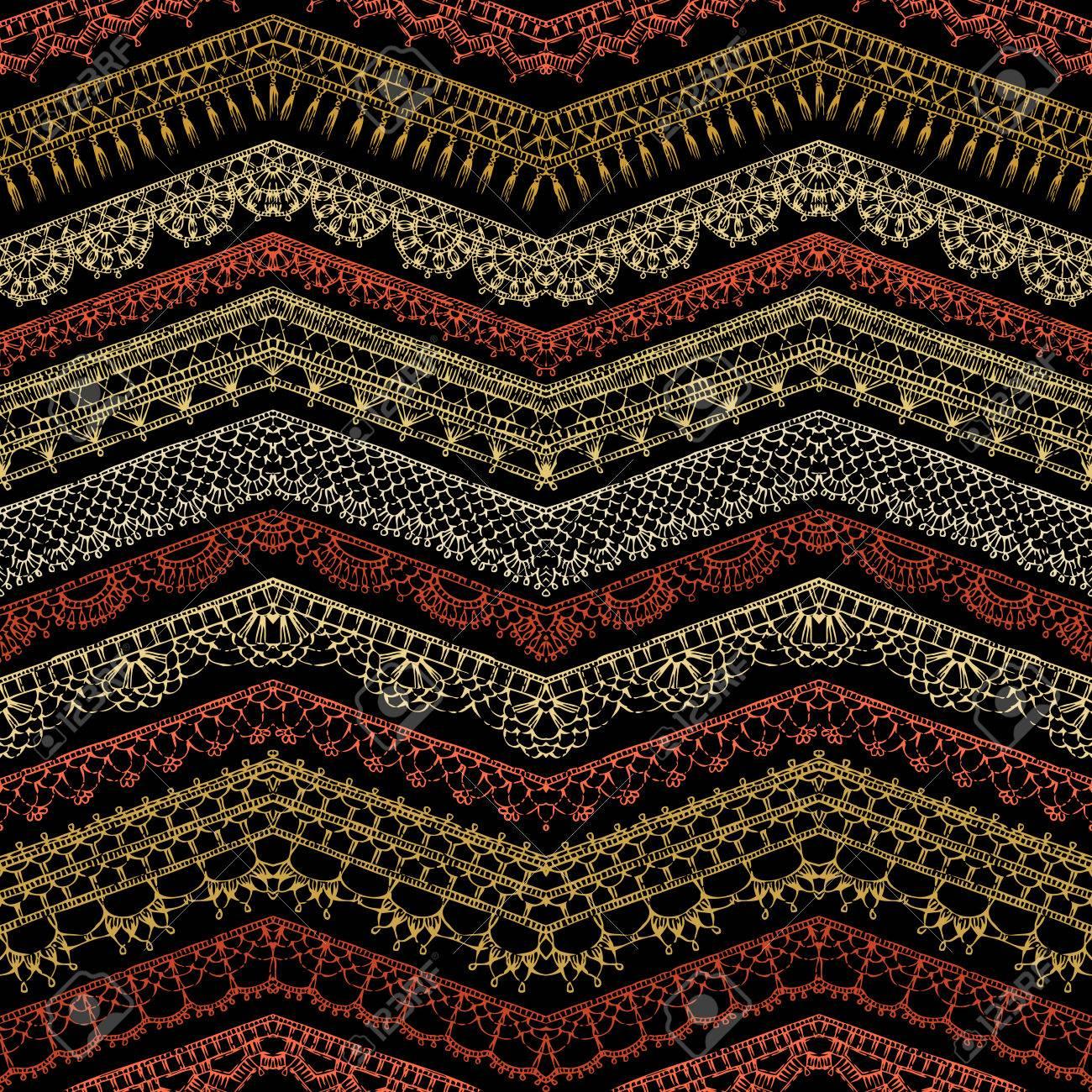 Vector Zigzag Oscuro Croched Patrón Transparente. Patrones De Bordes ...