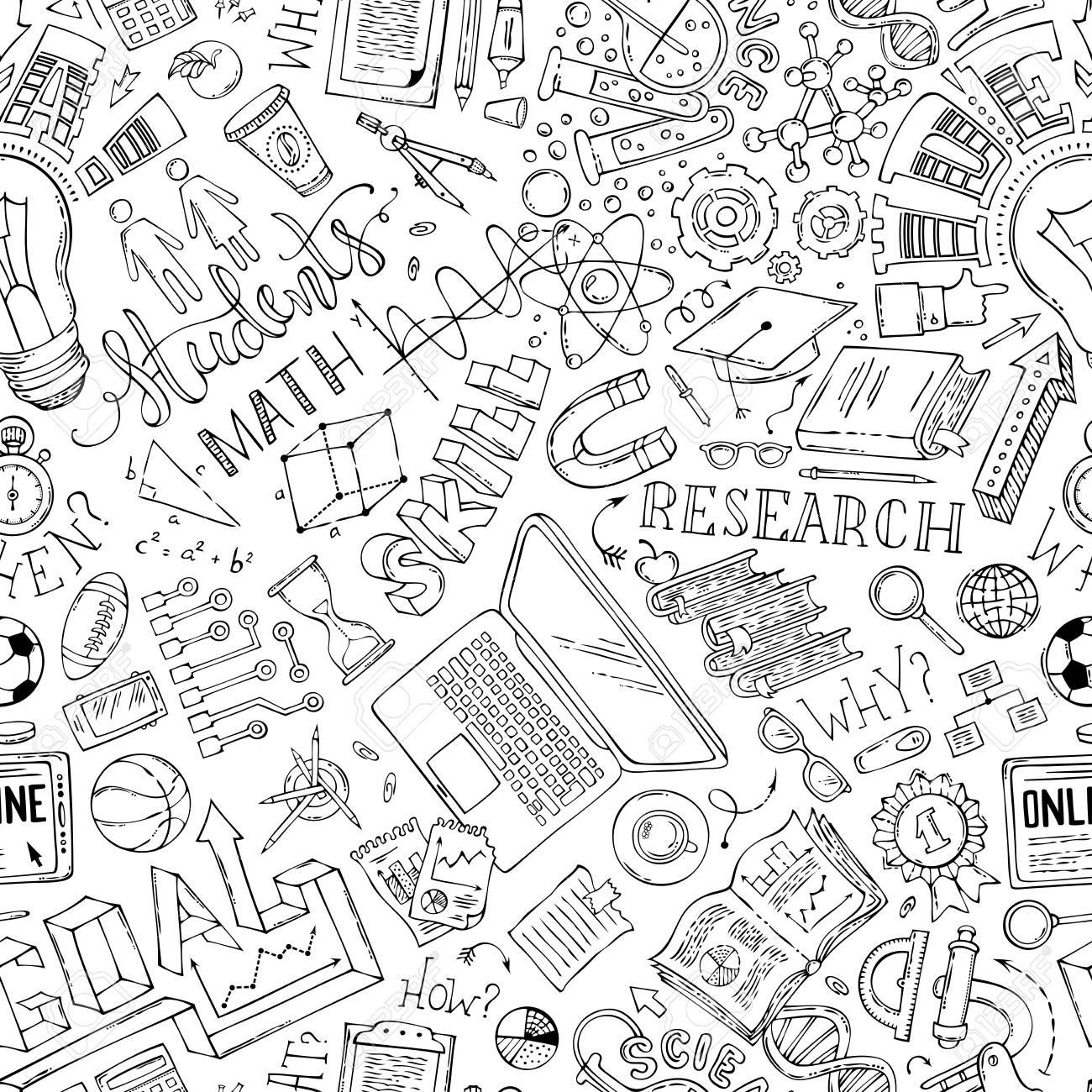 Ciencia Matemáticas Técnica Laboratorio Química Símbolos De Investigación Fondo Ilimitado Dibujado A Mano Libro De Colorear Para Adultos