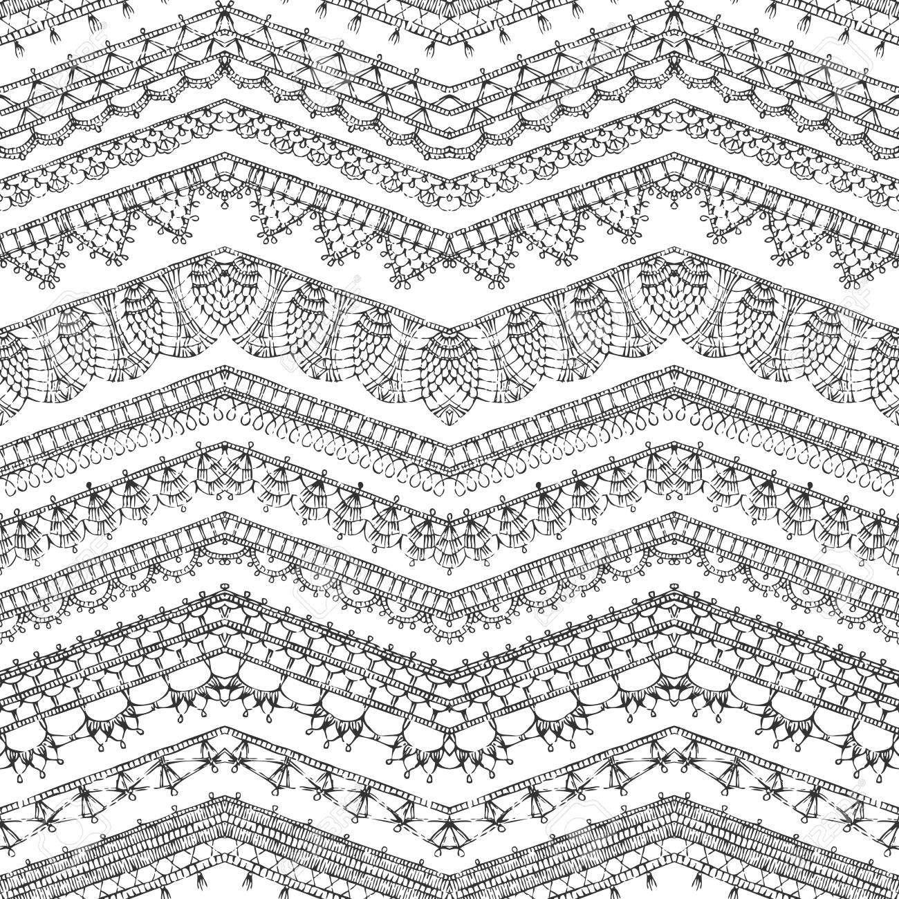 Patrón Transparente De Vector De Crochet Bordes De Encaje. Esbozado ...