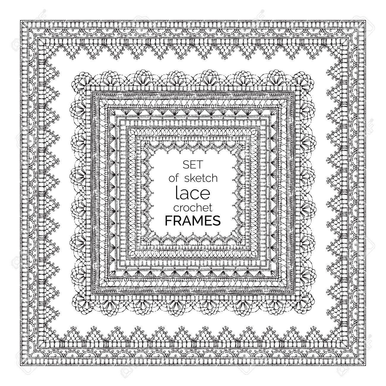 Vector Set Of Sketch Lace Crochet Square Frames. Ornate Crochet ...