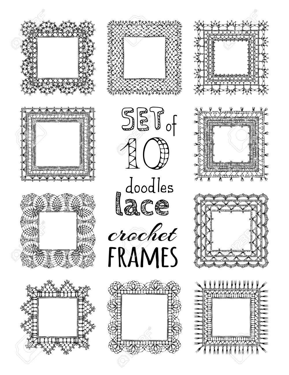 Vector Set Of 10 Doodles Lace Crochet Square Frames Doodles