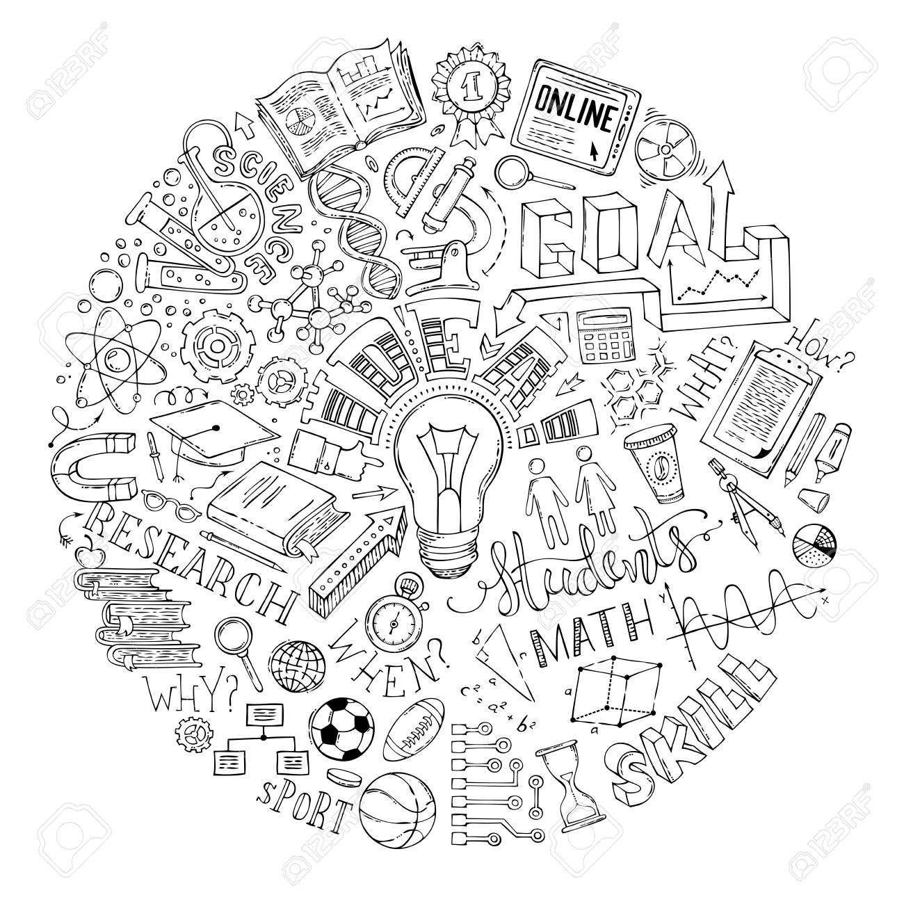 Vector doodles concept de l'éducation. Science, mathématiques, laboratoire,  chimie, symboles et éléments de recherche. Livre de coloriage cercle ...