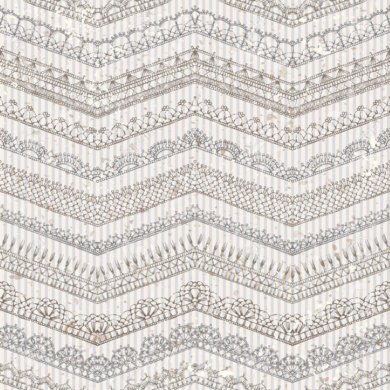 Vector Vintage Seamless Pattern Of Lacy Crochet Edges Ornate