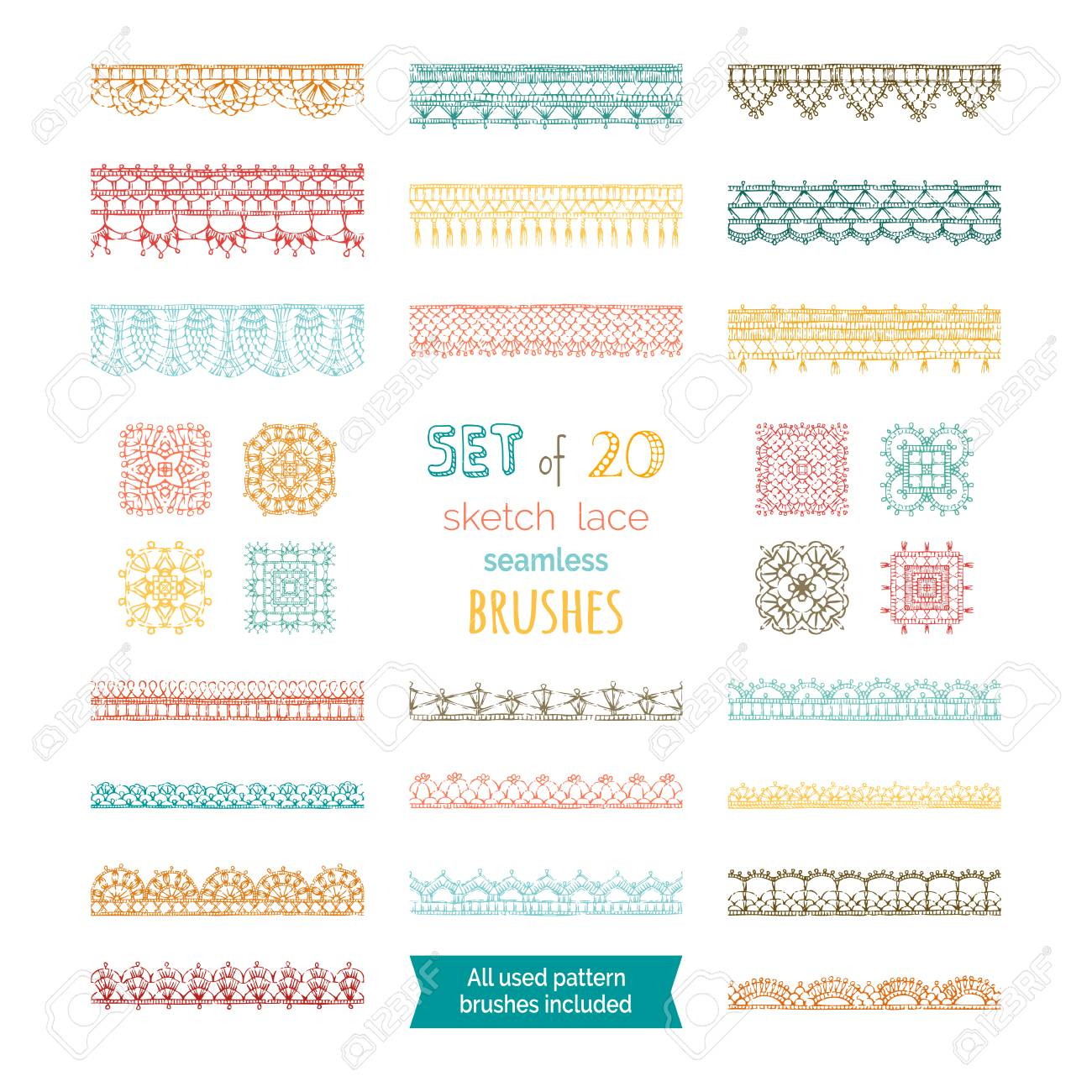 Knitted Crochet Edging Patterns And Borders Isolated On White ...
