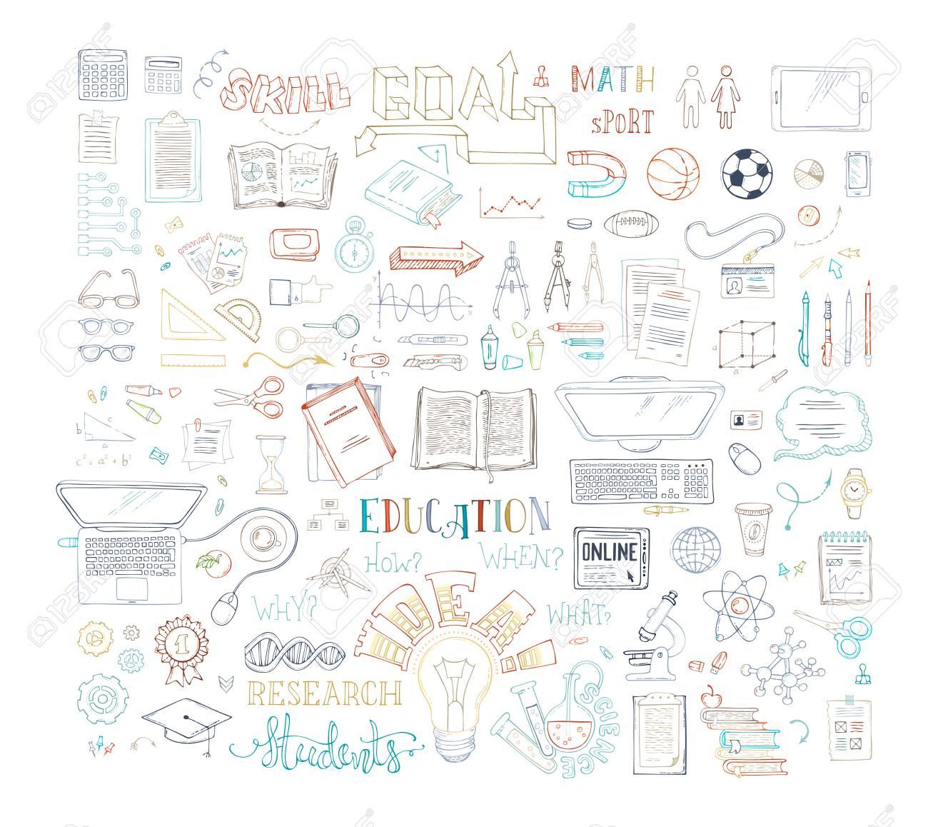 Science, mathématiques, laboratoire, chimie, physique, symboles et éléments  de recherche. Adn, molécules, éprouvettes, microscope, articles de bureau,  ...