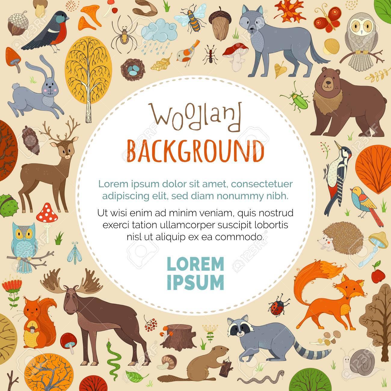 Lindos Animales Del Bosque Hechos En Estilo De Dibujos Animados ...