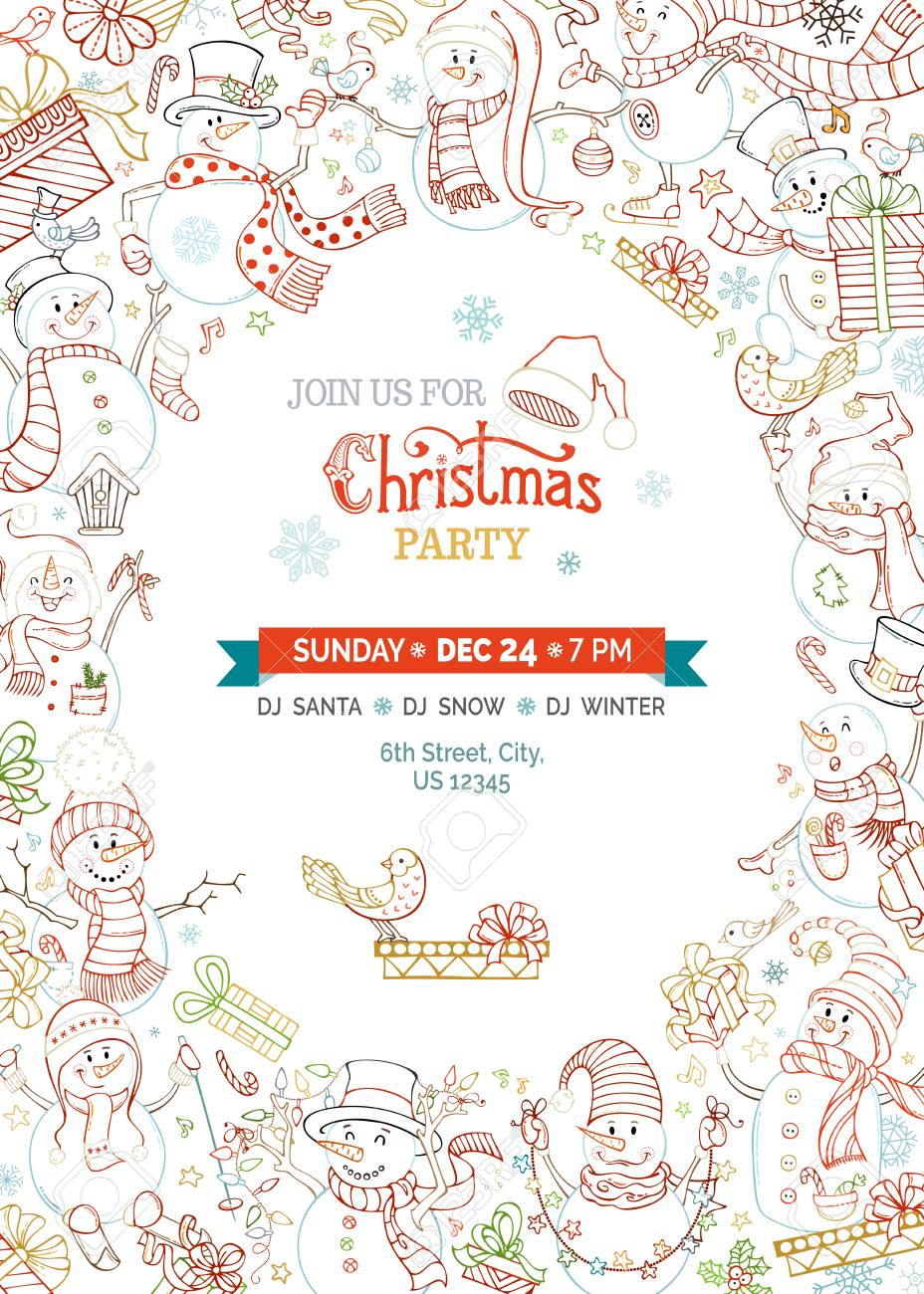Vector Christmas Party Invitation Template With Cute Snowmen