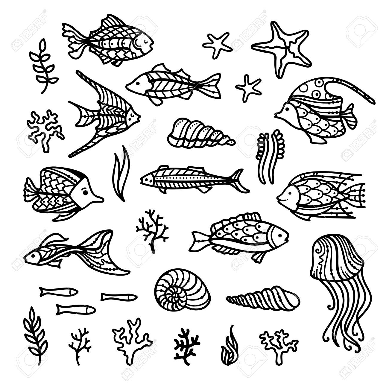 Vector Doodles Underwater Icons Set Set Of Fish Sea Plants Royalty Free Cliparts Vectors And Stock Illustration Image 95533183
