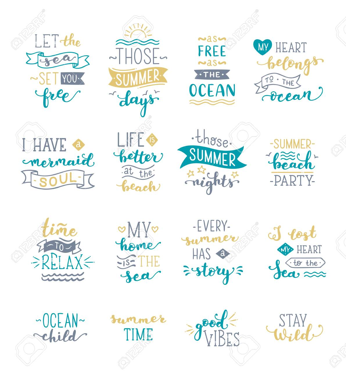 Hand Drawn Illustrated Lettering Quotes About Sea Ocean Summer