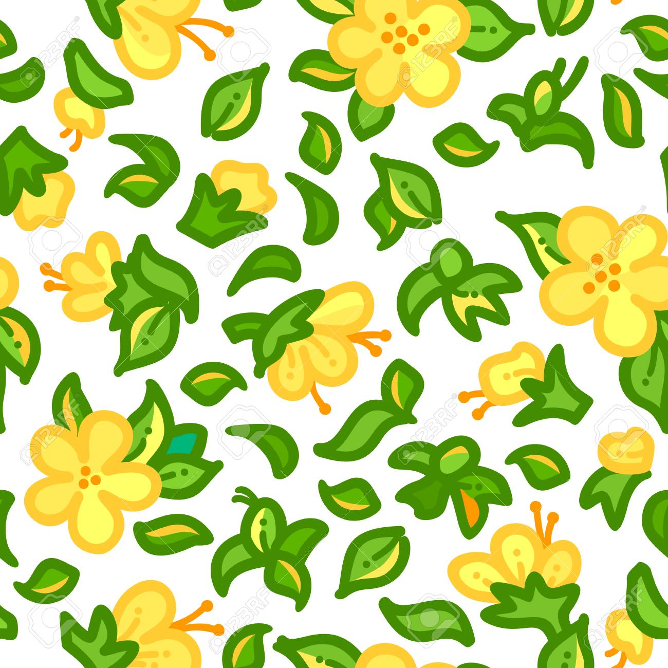 Vector Seamless Outline Floral Pattern Tiny Yellow Flowers And