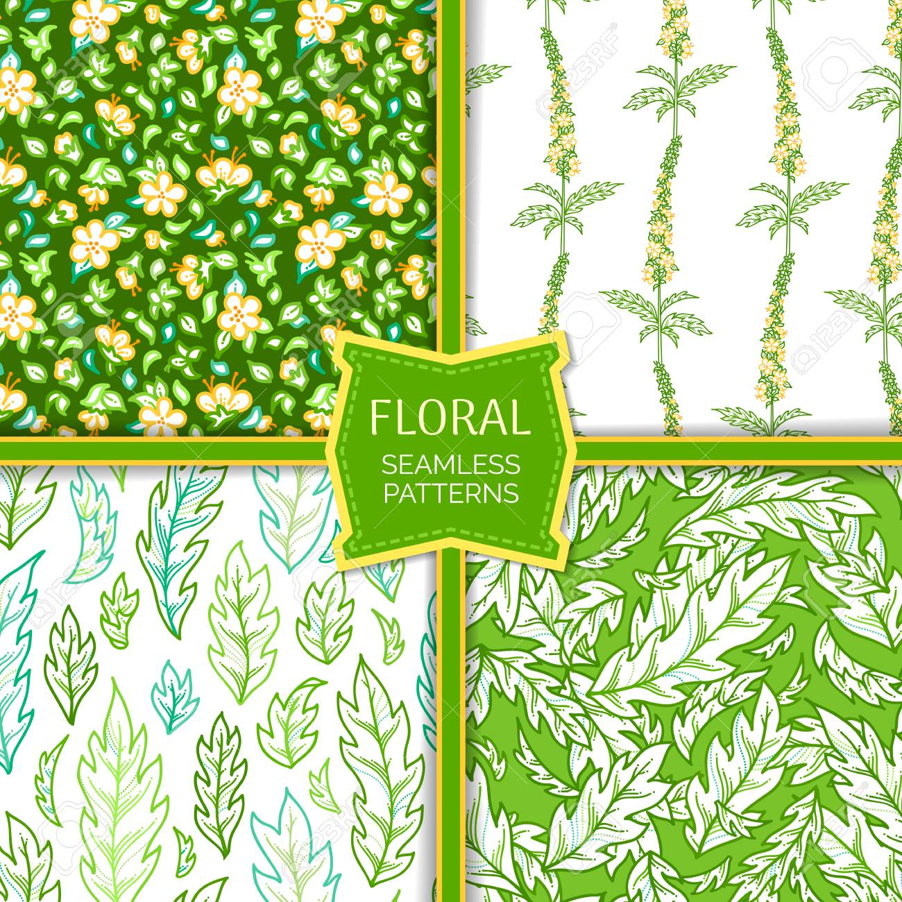 Vector Set Of Floral Seamless Patterns Tiny Yellow Flowers And