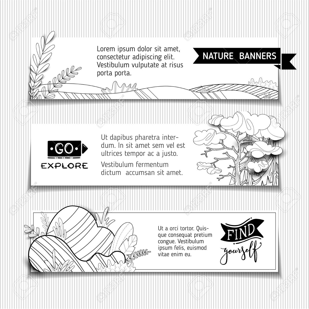 Nature landscapes  Doodles pine, fir, stones and fields  Copy