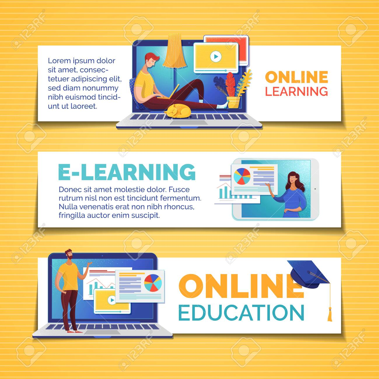 E Learning And Remote Education Web Banners Templates Set Data Royalty Free Cliparts Vectors And Stock Illustration Image 131915093