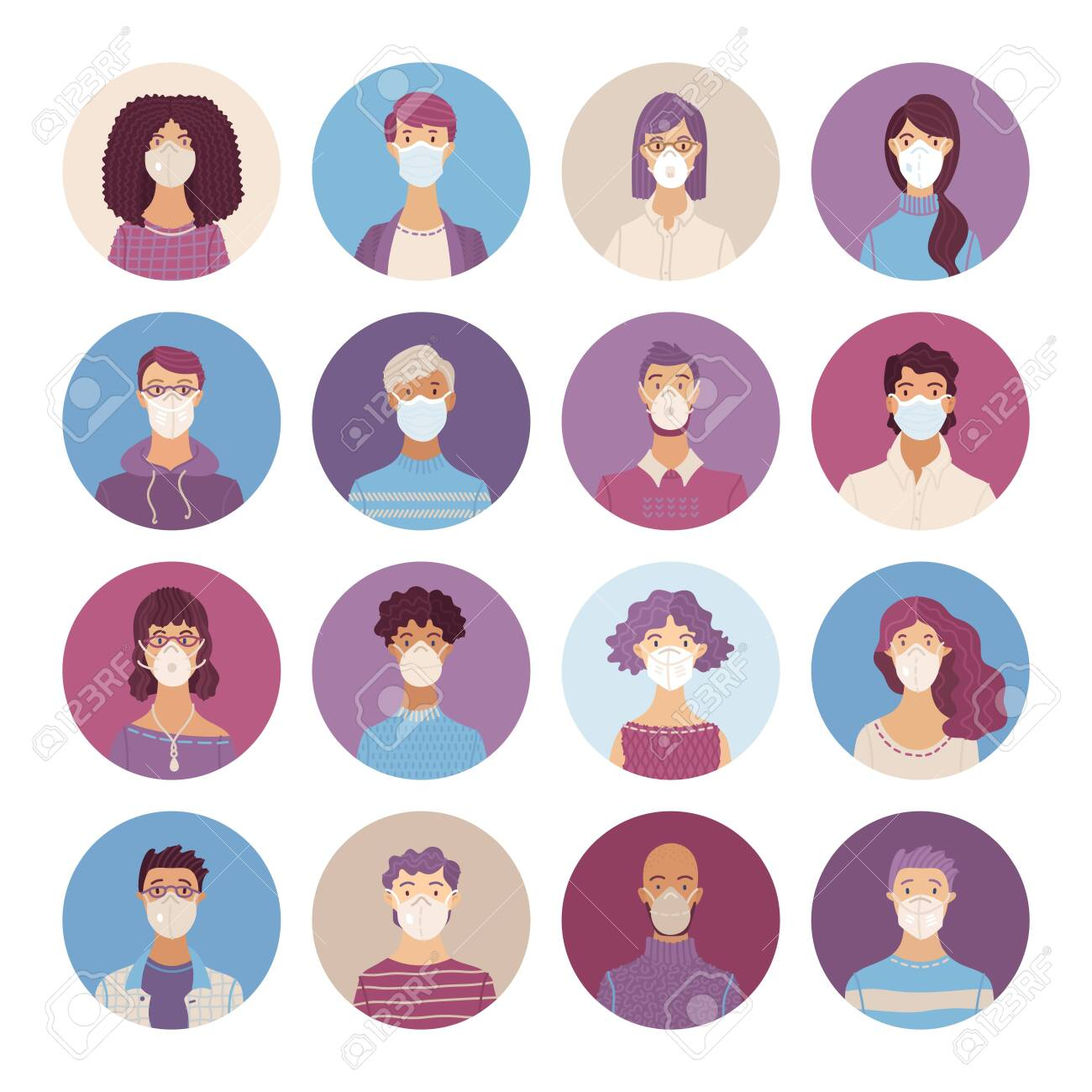Women and men wearing safety breathing masks icons set. Respirators and medical masks. Disease, flu, coronavirus COVID-19, air pollution, allergies. Vector flat portraits young and aged people. - 146076050