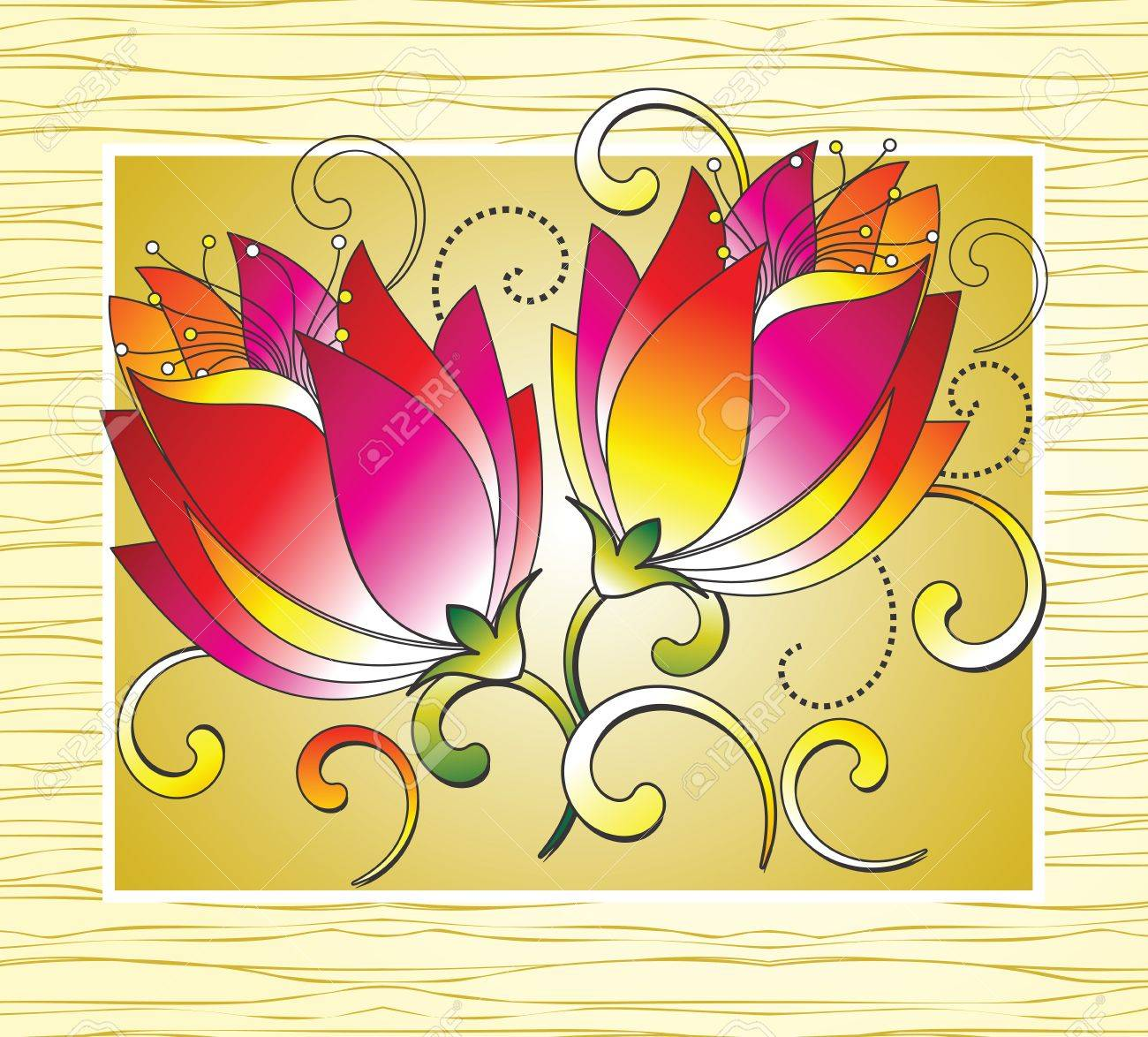Fancy flowers for greeting card Stock Vector - 15355843
