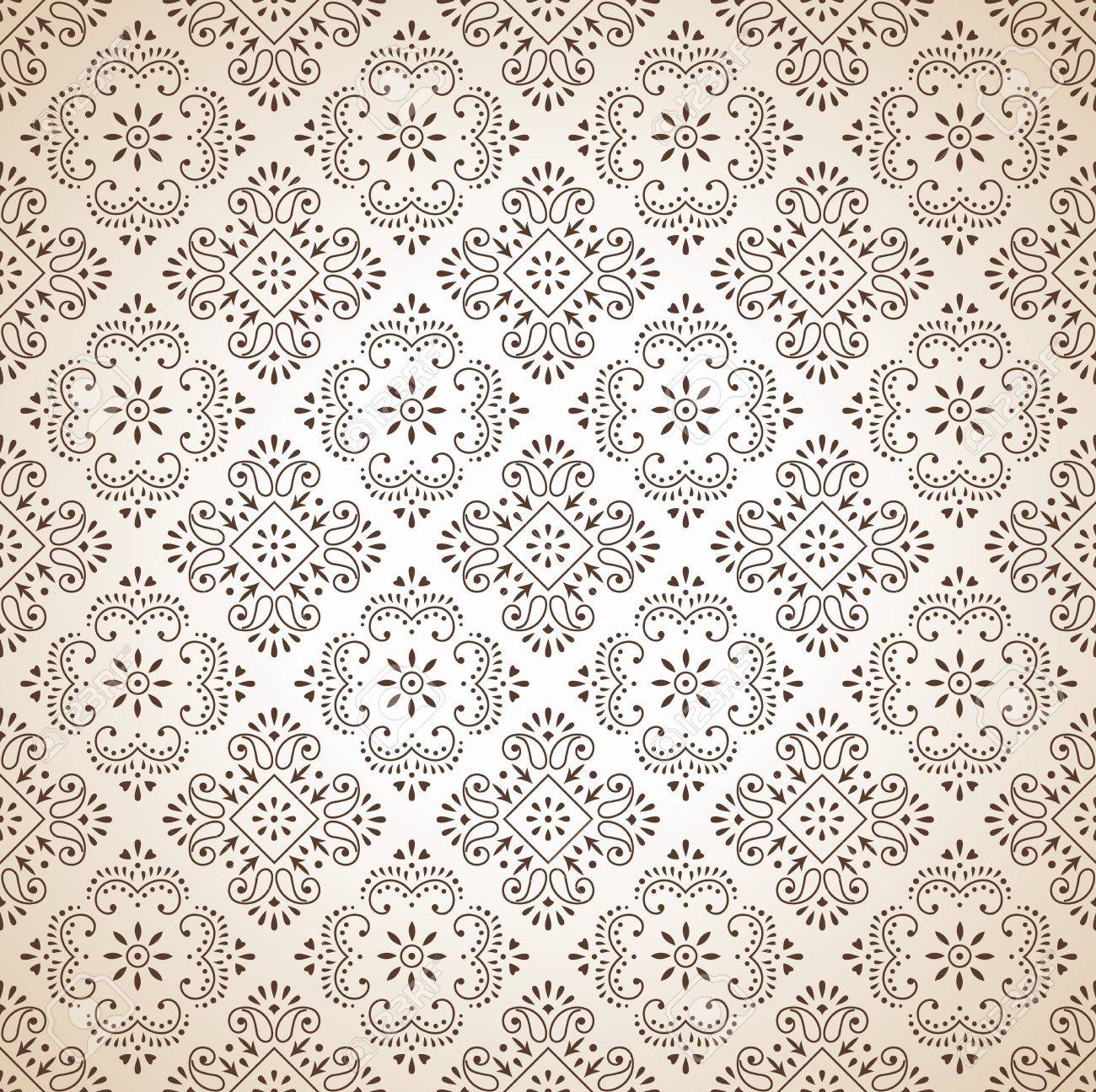 Seamless brown traditional wallpaper Stock Vector - 16066365