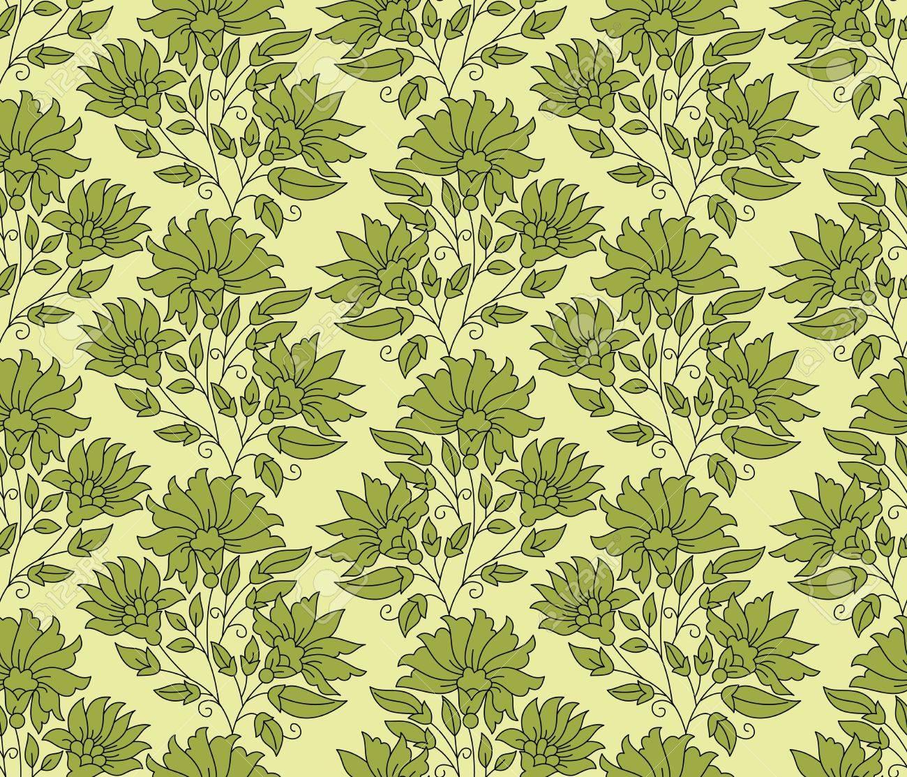 Green seamless flower background Stock Vector - 16608878