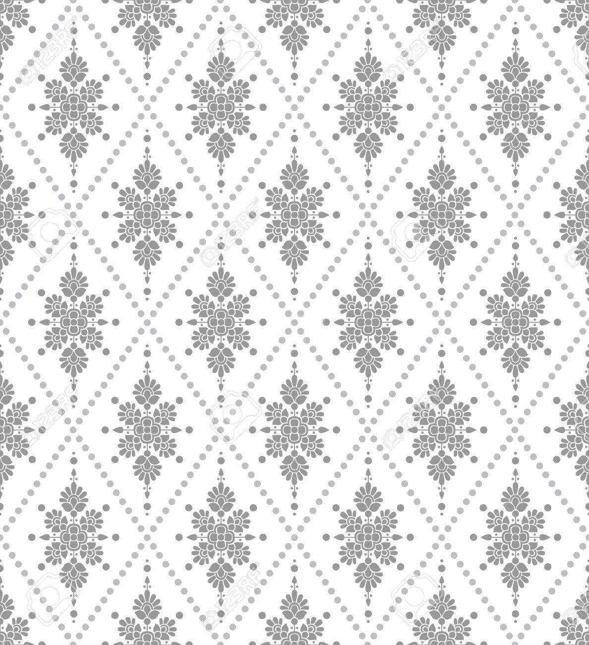 Seamless Silver Floral Wallpaper Royalty Free Cliparts Vectors