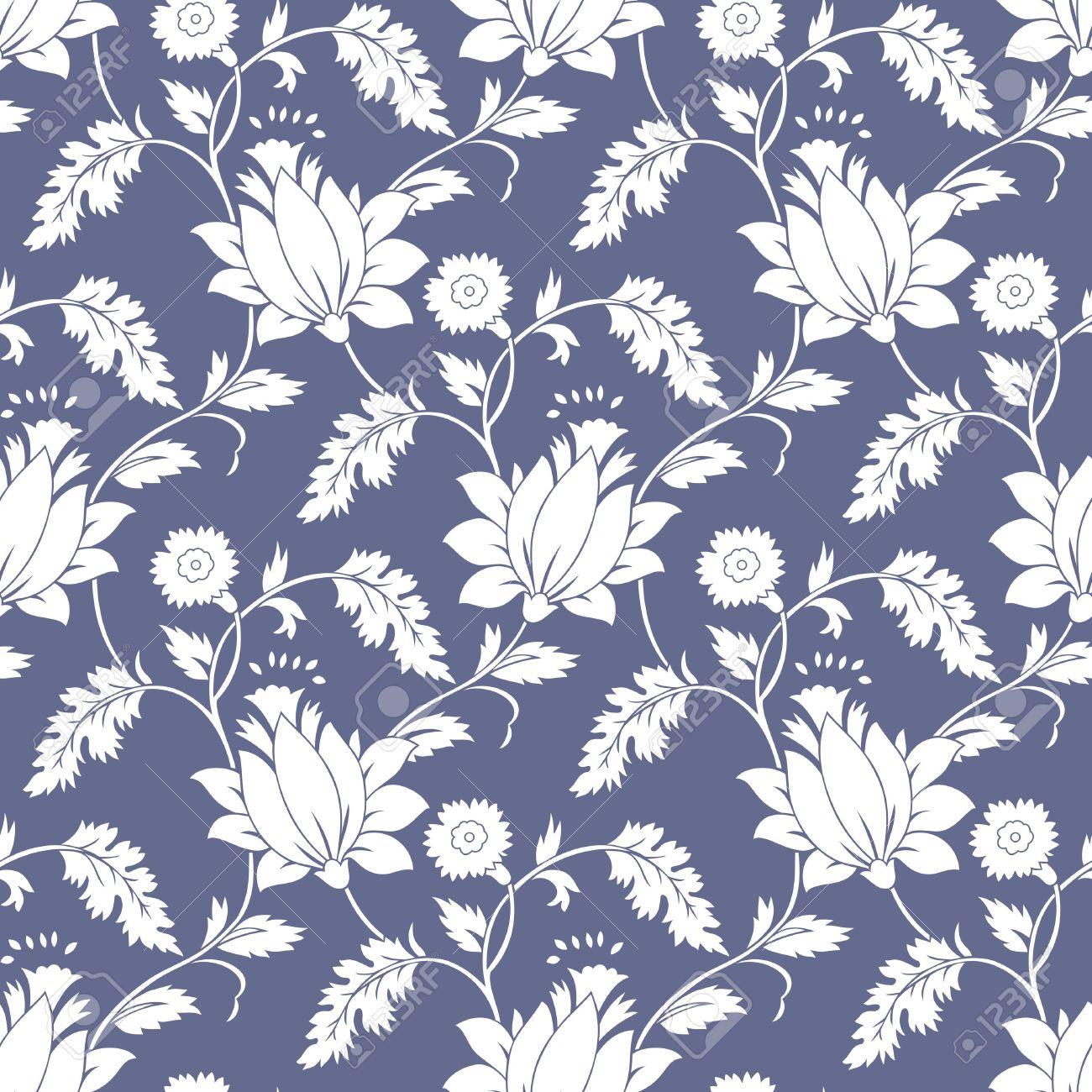 Seamless Fancy Lotus Flower Background Wallpaper Royalty Free