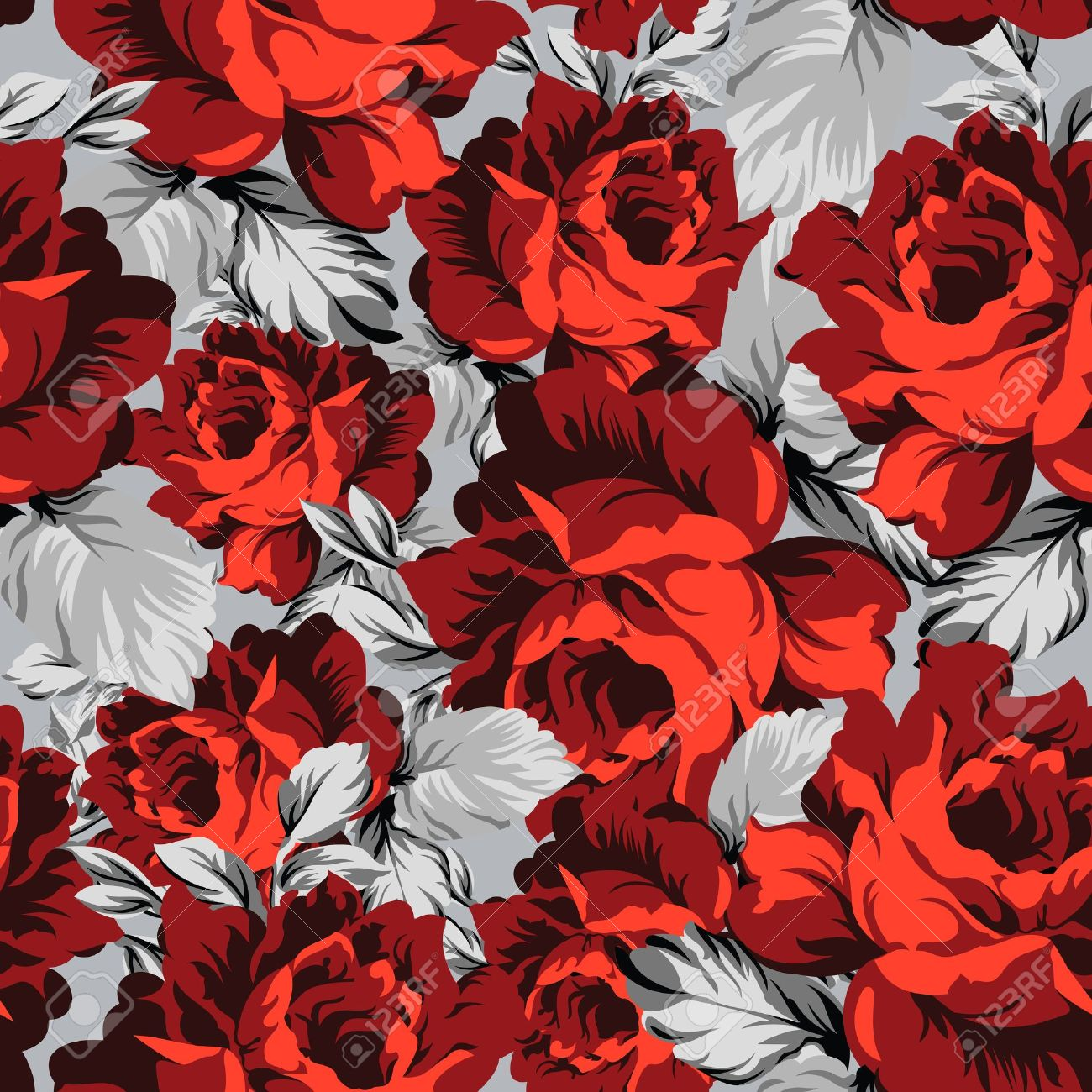 Seamless vector rose wallpaper Stock Vector - 19128849
