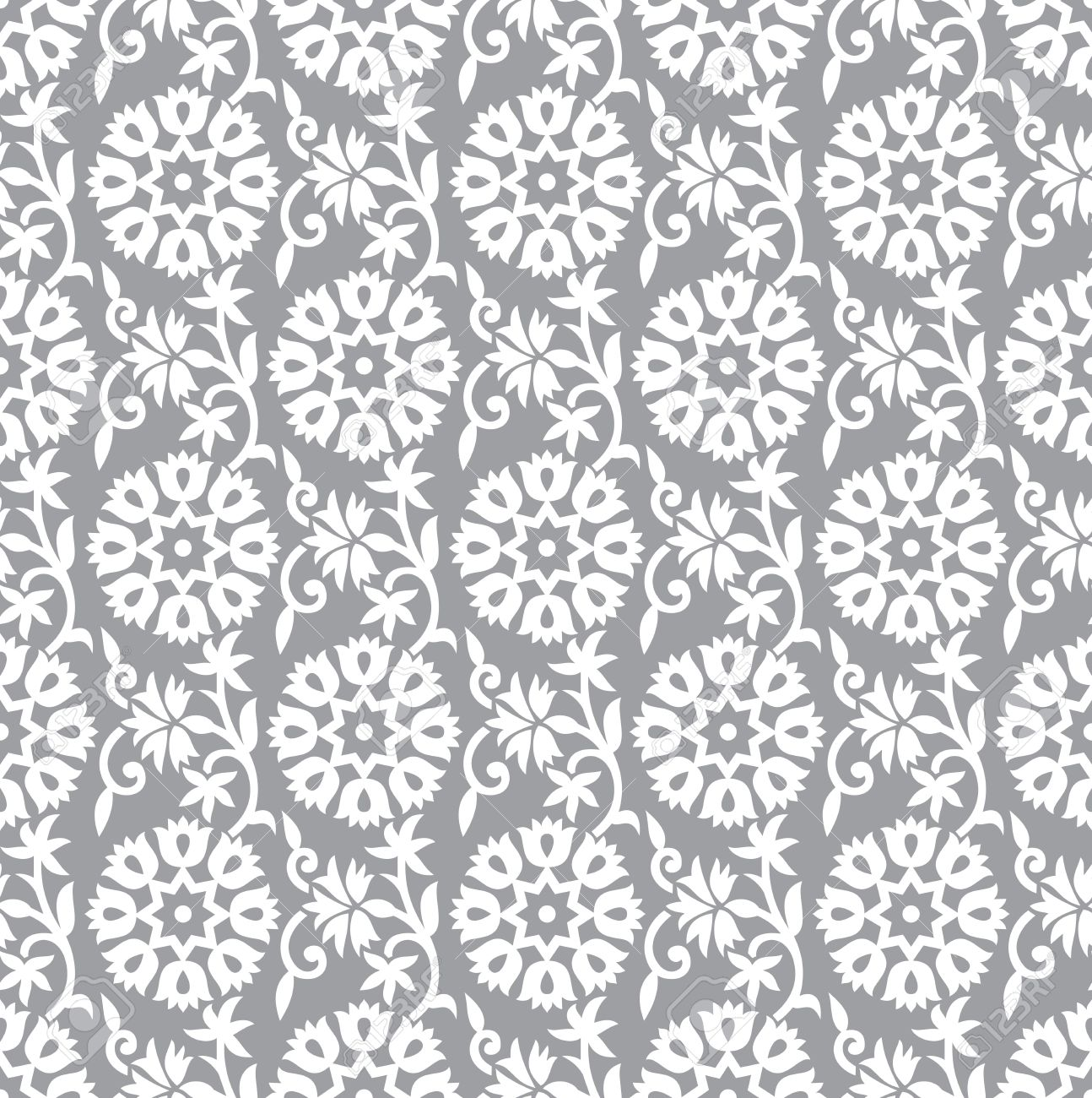 Seamless silver floral background Stock Vector - 20074697