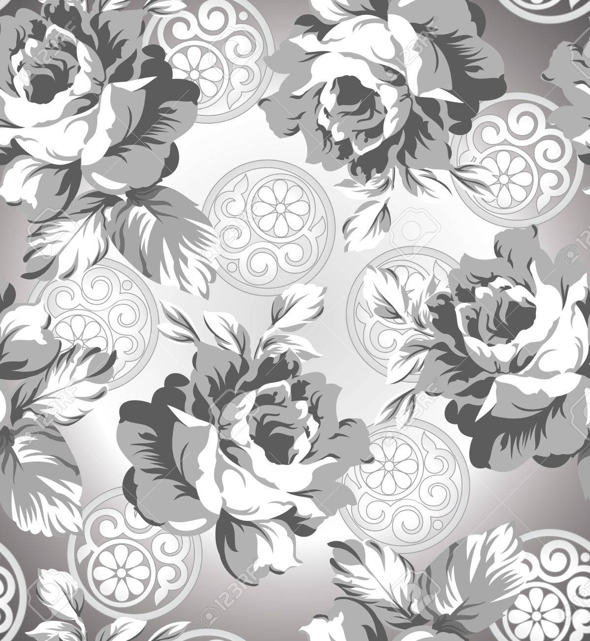 Seamless Silver Rose Flower Background Stock Vector