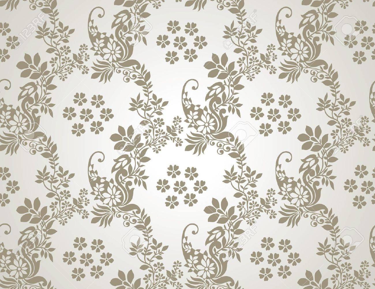 Floral Seamless Golden Wallpaper Stock Vector