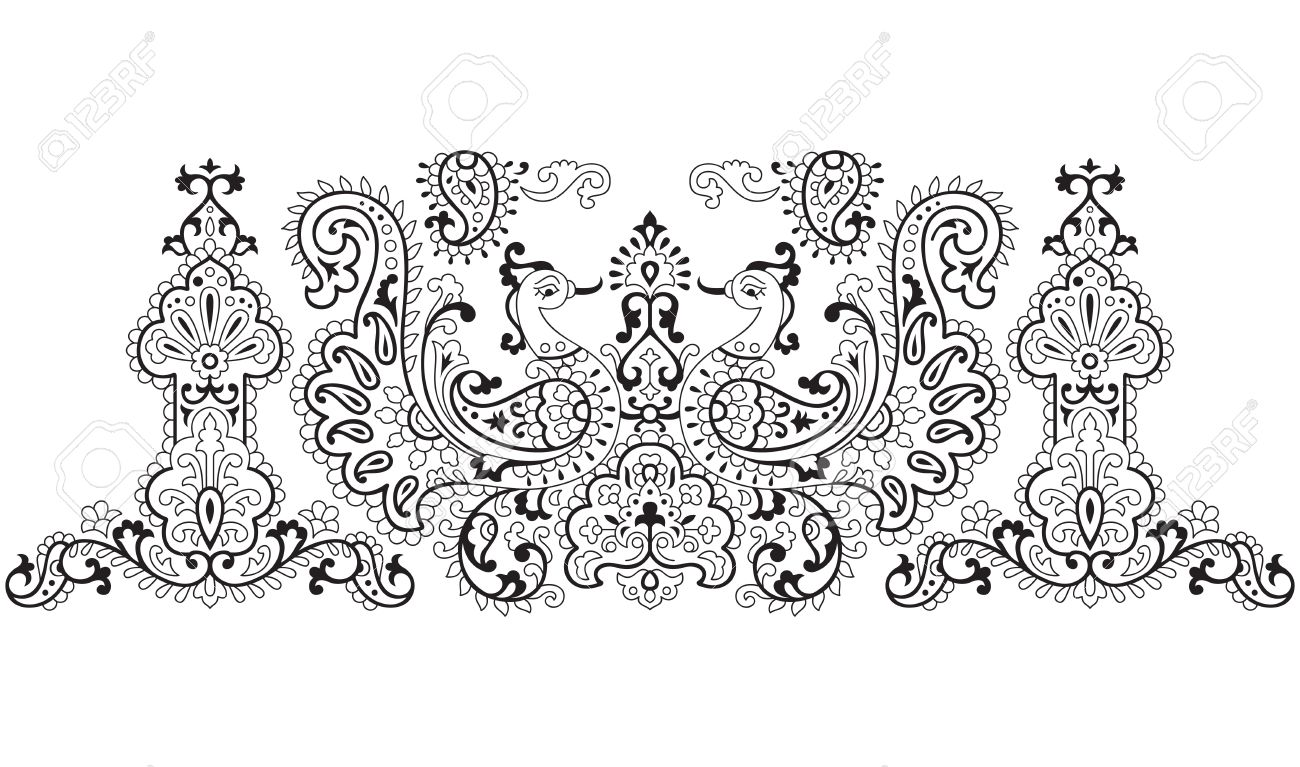 traditional peacock design no outline work in object royalty free