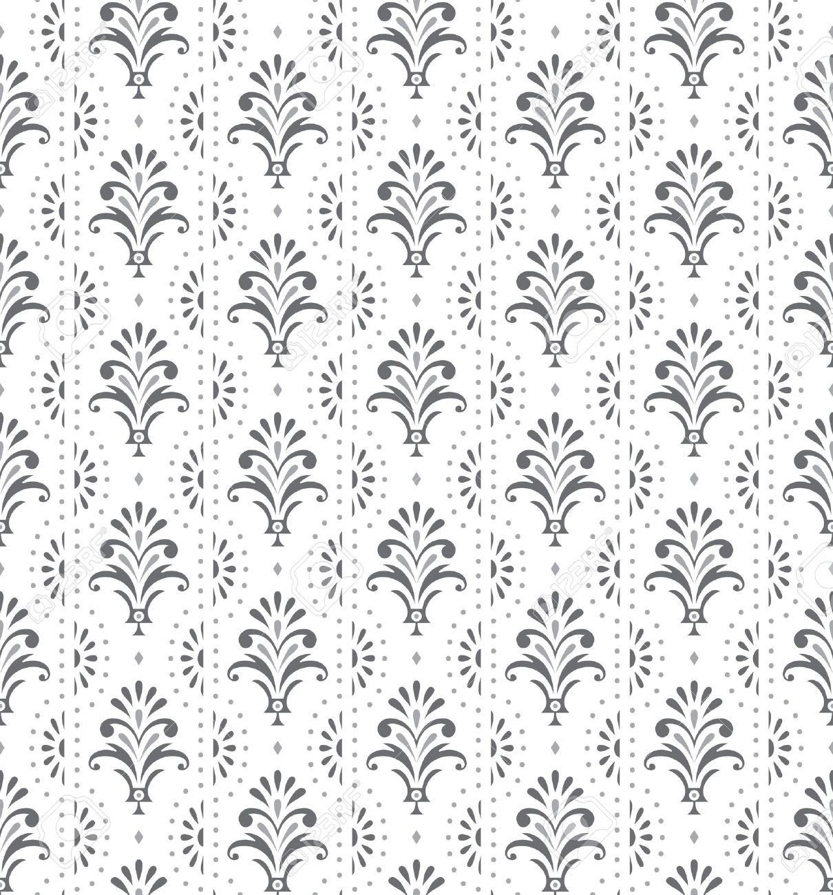 Silver Seamless Traditional Floral Wallpaper Royalty Free Cliparts