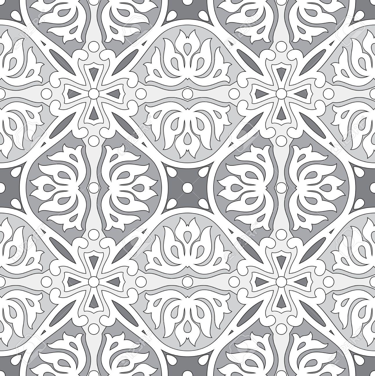 Seamless Silver Damask Wallpaper Royalty Free Cliparts Vectors