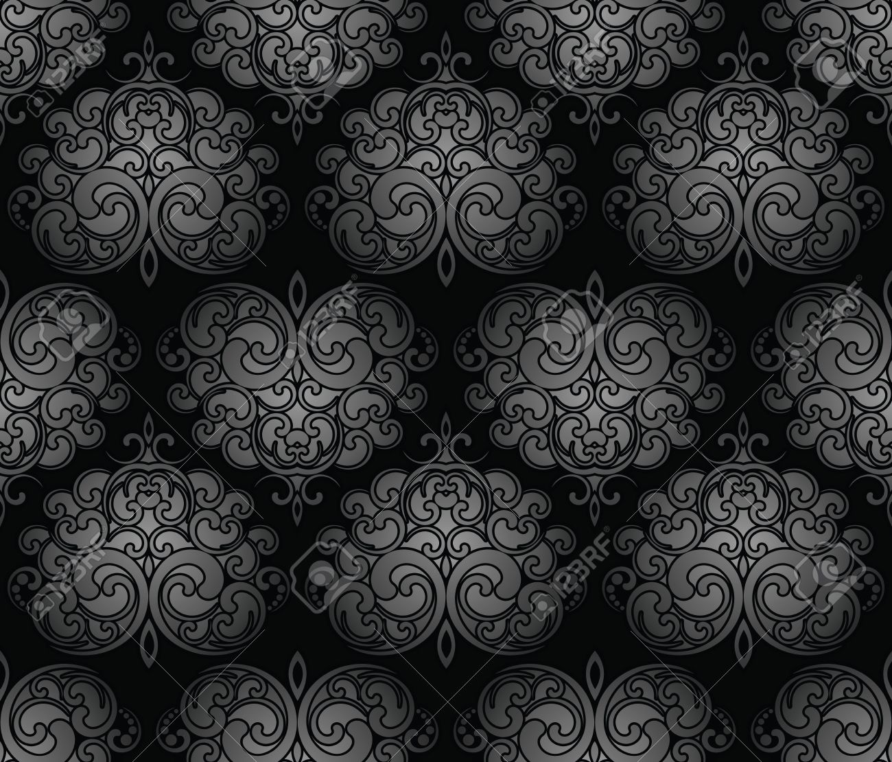 Seamless Black Royal Damask Wallpaper Stock Vector