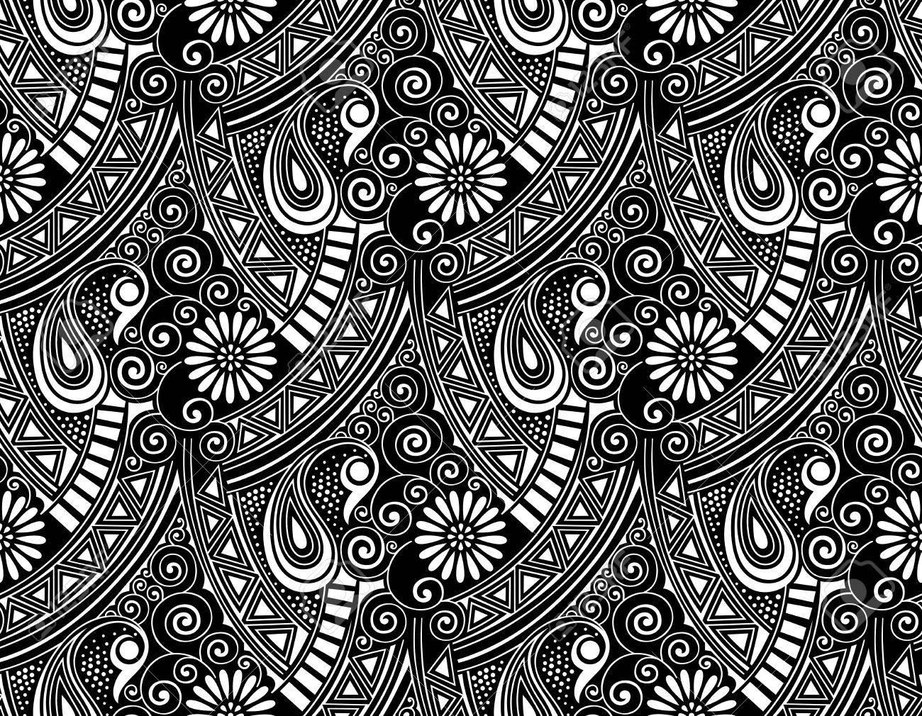 Seamless Vector Paisley Wallpaper Stock