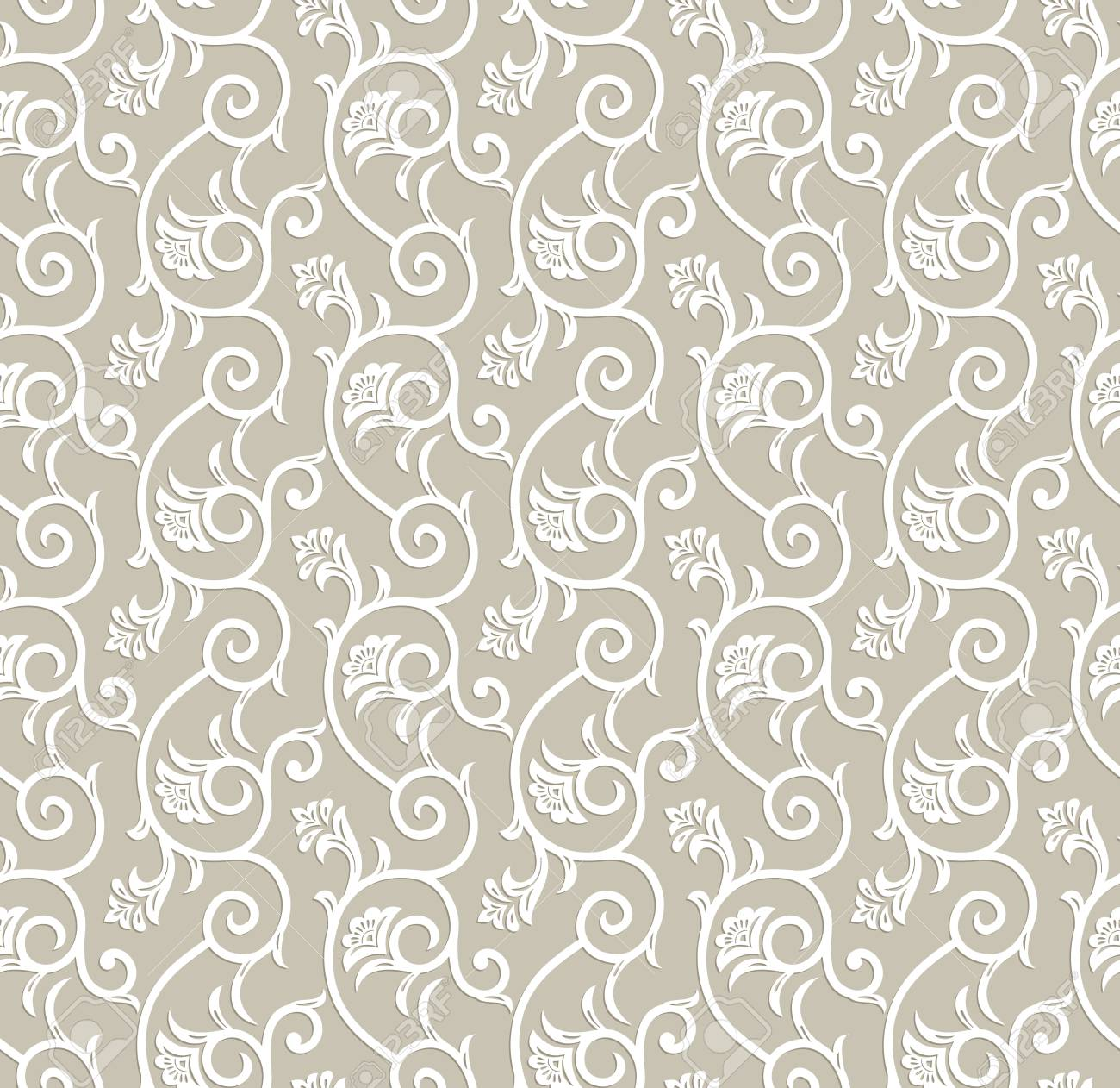 Seamless Traditional Floral Wallpaper Royalty Free Cliparts