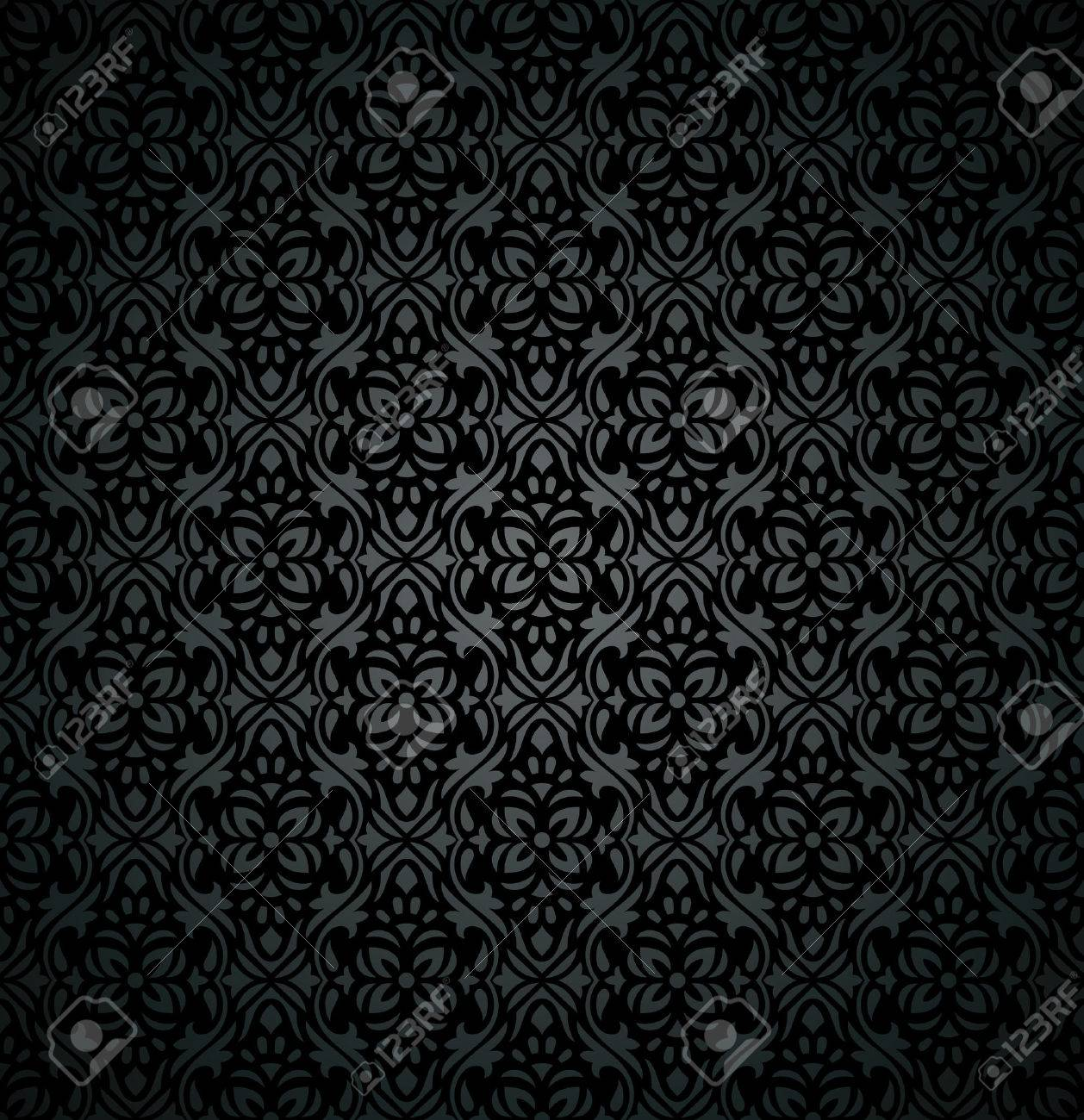 Damask Royal Dark Floral Wallpaper Royalty Free Cliparts Vectors