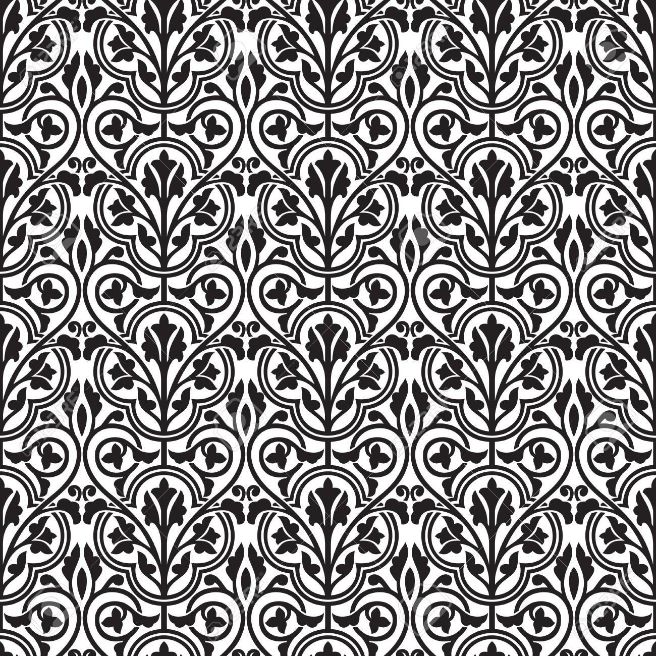 Damask Seamless Black And White Floral Wallpaper Royalty Free
