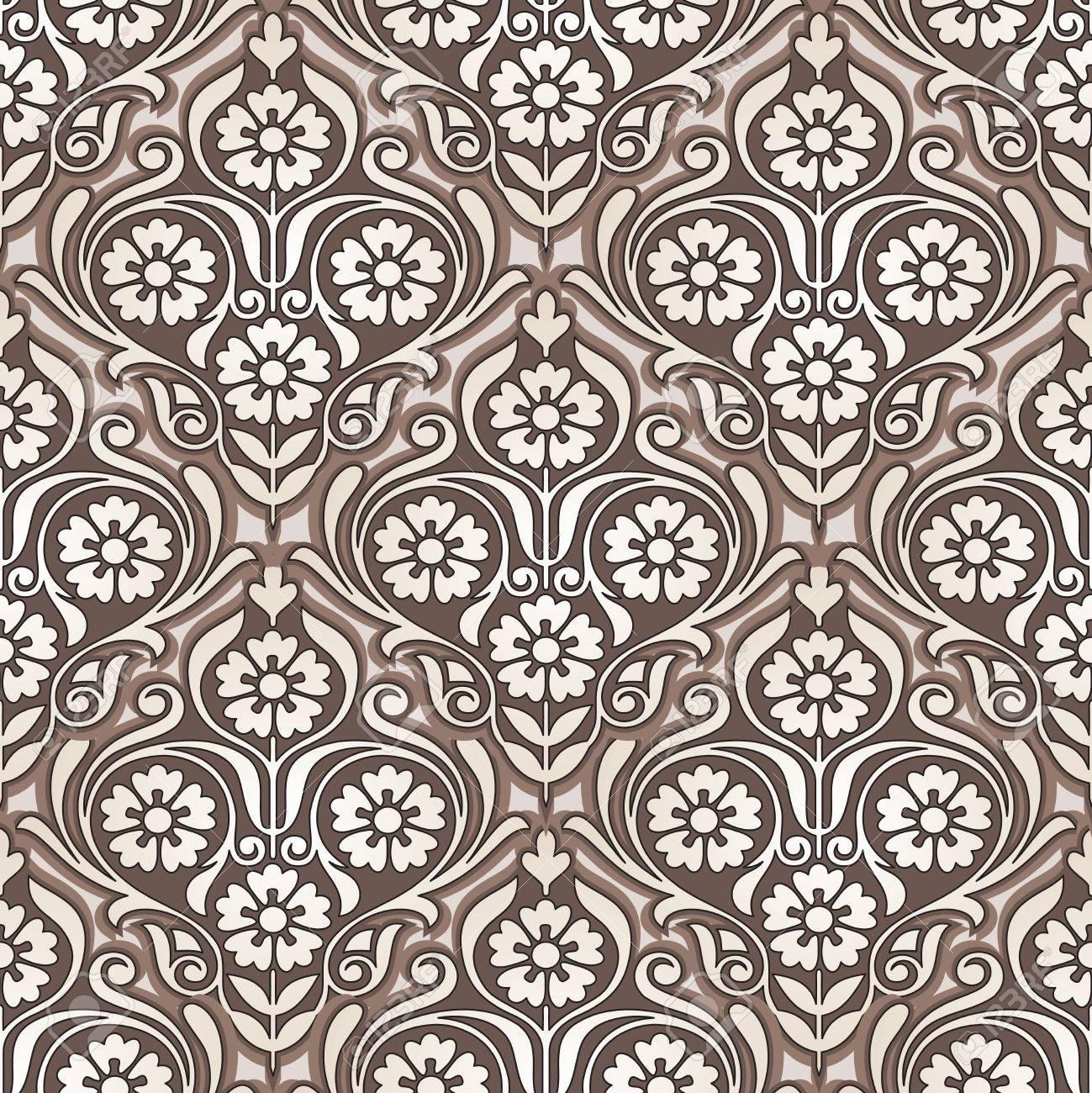 Seamless Golden Flower Wallpaper Design Stock Vector
