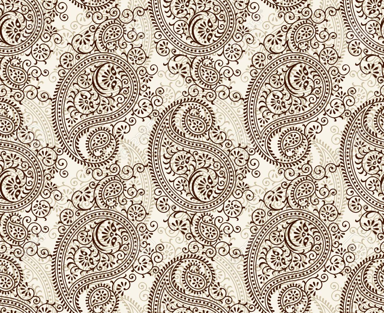 Seamless Traditional Indian Paisley Pattern Royalty Free Cliparts