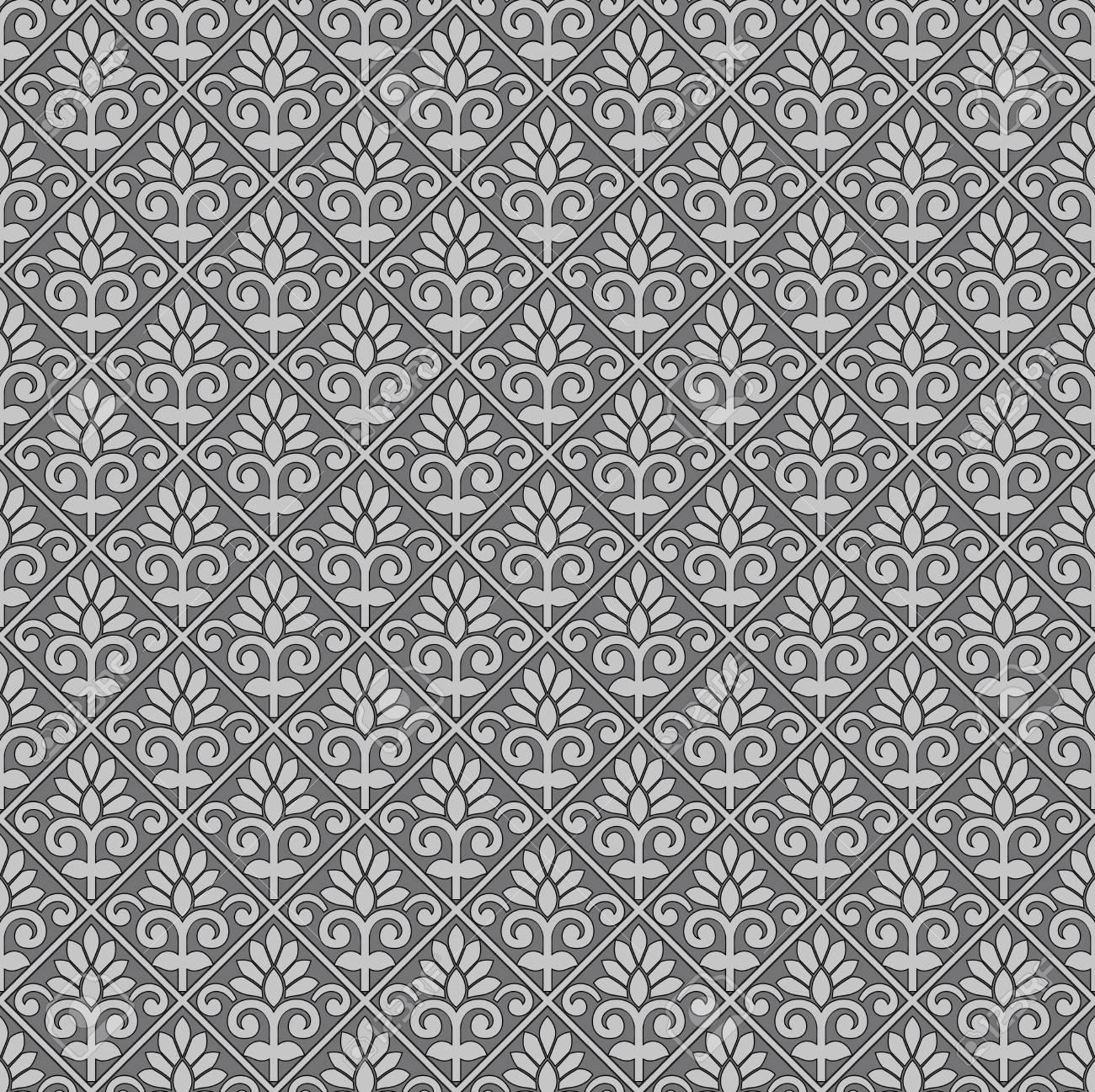 Seamless Rich Grey Damask Wallpaper Template Vector Illustration