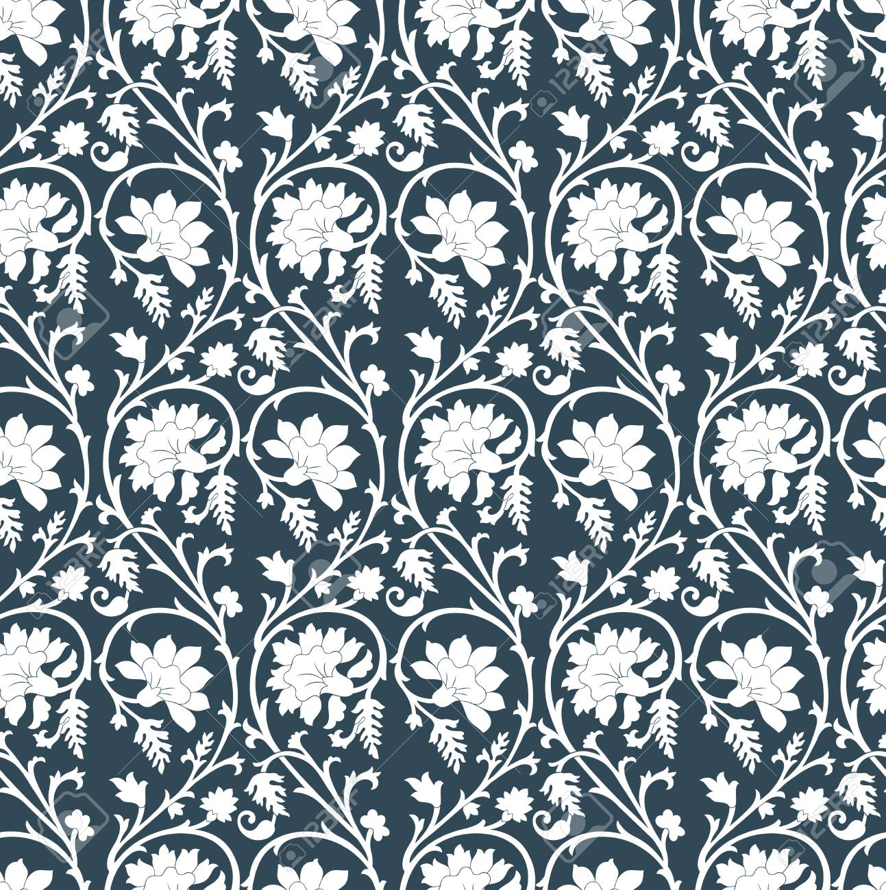 Seamless Floral Damask Wallpaper Royalty Free Cliparts Vectors