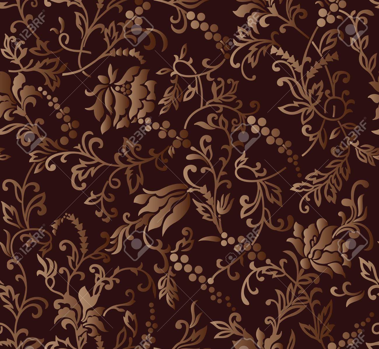 Seamless Brown Rich Floral Wallpaper