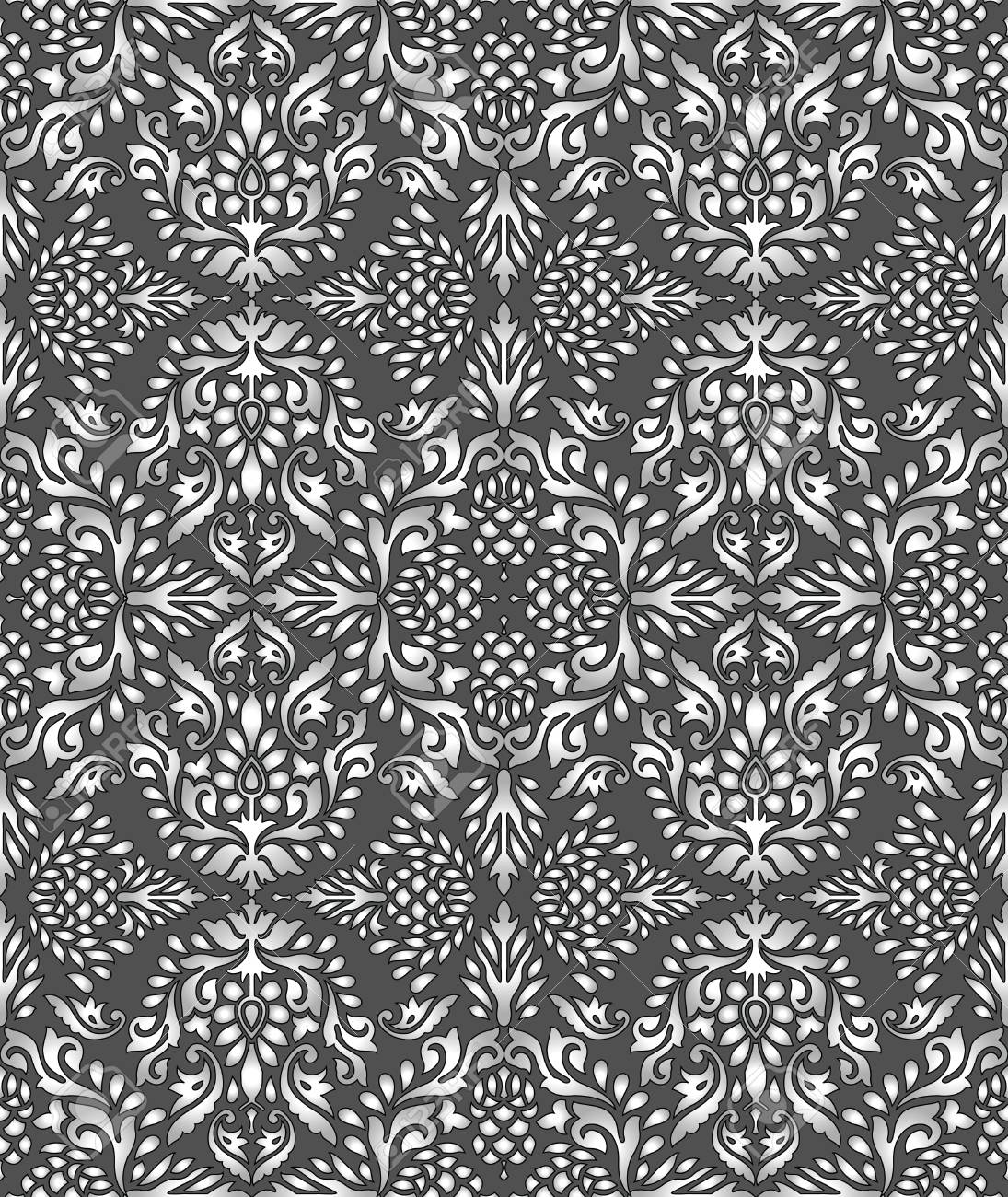 Seamless Rich Silver Damask Wallpaper Royalty Free Cliparts