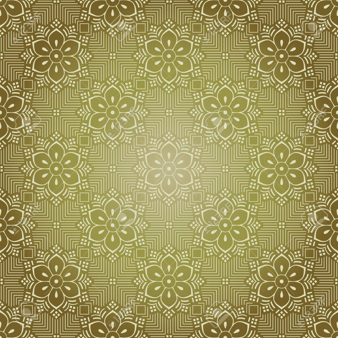 Seamless Golden Antique Floral Wallpaper Royalty Free Cliparts